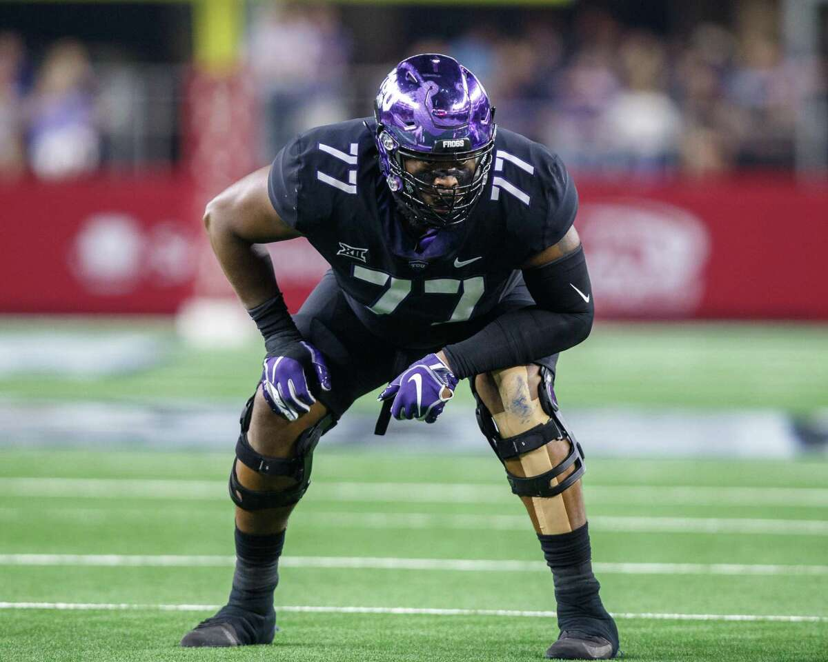 TCU Horned Frogs offensive tackle Lucas Niang prepares for the snap during the Advocare Showdown college game against the Ohio State Buckeyes in 2018.