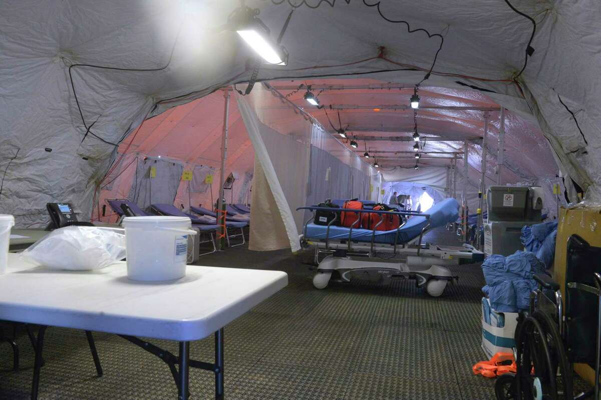 Inside a 25-bed mobile field hospital that has been setup in a parking lot of Danbury Hospital.