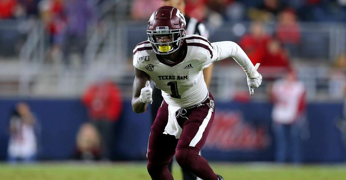 Quartney Davis #1 of the Texas A&M Aggies in action during a game against the Mississippi Rebels at Vaught-Hemingway Stadium on October 19, 2019 in Oxford, Mississippi. (Photo by Jonathan Bachman/Getty Images)