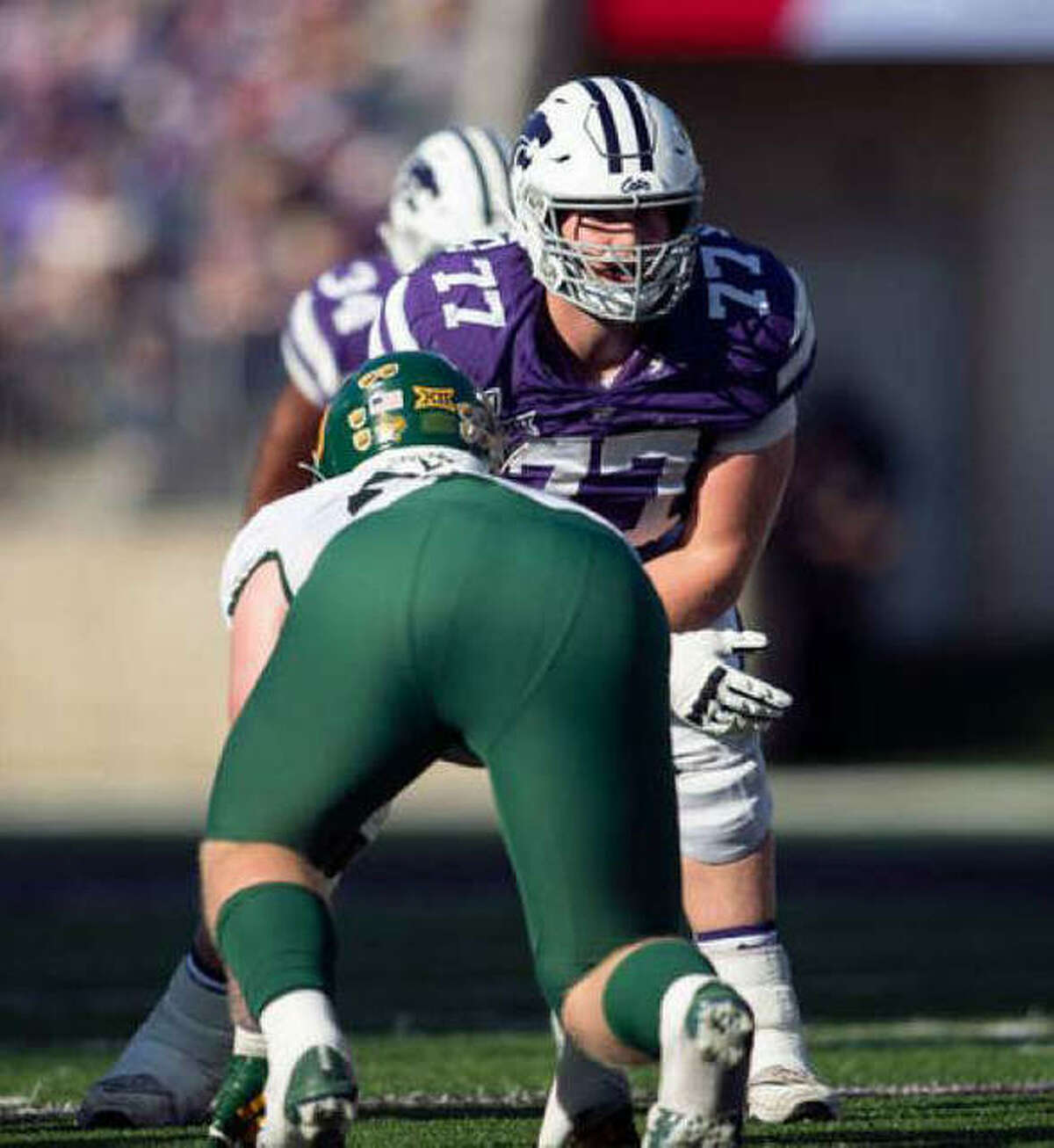 Kansas State offensive lineman Nick Kaltmayer, and Edwardsville High grad, prepares for a play during this past season.