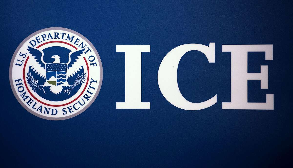 The Immigration and Customs Enforcement (ICE) seal is seen before a news conference on July 22, 2014, at ICE headquarters in Washington, D.C. (Paul J. Richards/AFP/Getty Images/TNS)