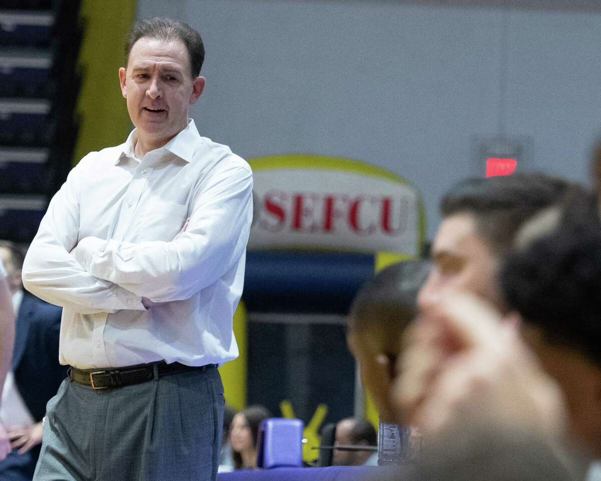 UAlbany head mens basketball coach Will Brown during a game against Niagara University at the SEFCU Arena in Albany, New York, on Saturday, Dec. 14, 2019 (Jim Franco/Special to the Times Union.)