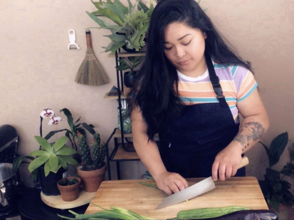 Alyssa Puno cooks at home in Fremont while furloughed from Mister Jiu's.