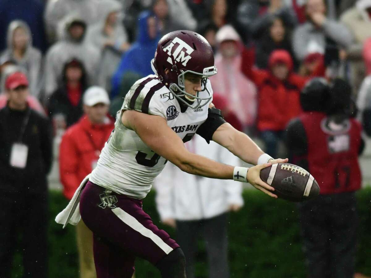 Braden Mann (34) punts the ball during the game between the Texas A&M Aggies and the Georgia Bulldogs on November 23, 2019, at Sanford Stadium in Athens, GA.(Photo by Jeffrey Vest/Icon Sportswire via Getty Images)