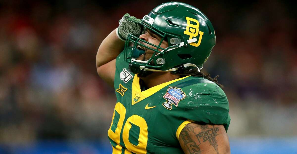 Bravvion Roy #99 of the Baylor Bears reacts after a play during the Allstate Sugar Bowl at Mercedes Benz Superdome on January 01, 2020 in New Orleans, Louisiana. (Photo by Sean Gardner/Getty Images)