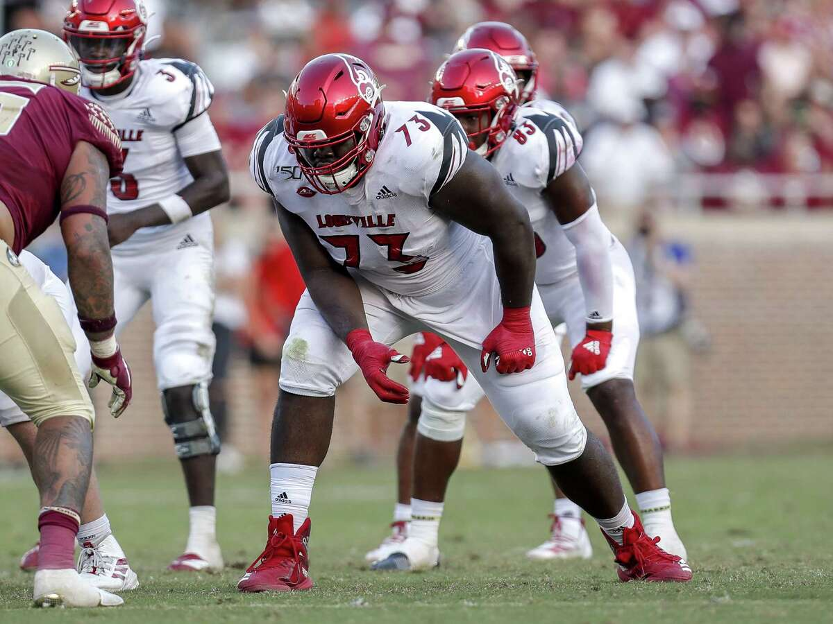 TALLAHASSEE, FL - SEPTEMBER 21: Tackle Mekhi Becton #73 of the Louisville Cardinals during the game against the Florida State Seminoles at Doak Campbell Stadium on Bobby Bowden Field on September 21, 2019 in Tallahassee, Florida. The Seminoles defeated the Cardinals 35 to 24. (Photo by Don Juan Moore/Getty Images)