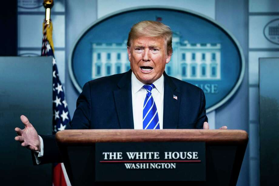 In the 35 coronavirus task force briefings held since March 16, President Donald Trump has accounted for 60 percent of the time that officials spoke, according to a Washington Post analysis. Photo: Washington Post Photo By Jabin Botsford / The Washington Post