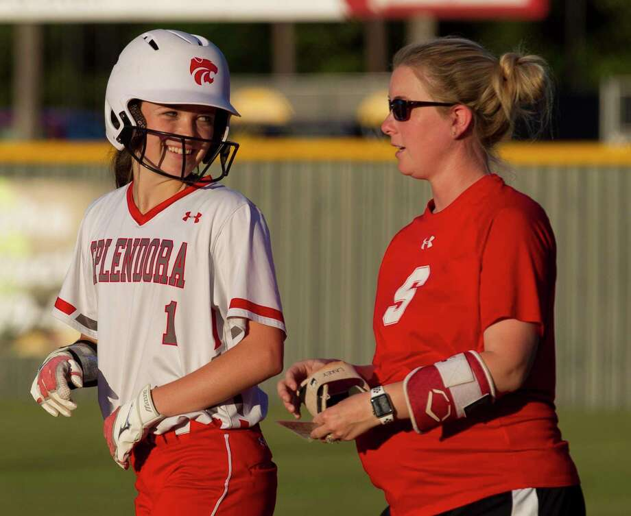 Mackenzie Lakey #1 of Splendora smiles after hitting a single in the first inning of a Region III-4A high school softball bi-district playoff game, Friday, April 26, 2019, in Splendora. Photo: Jason Fochtman, Houston Chronicle / Staff Photographer / © 2019 Houston Chronicle