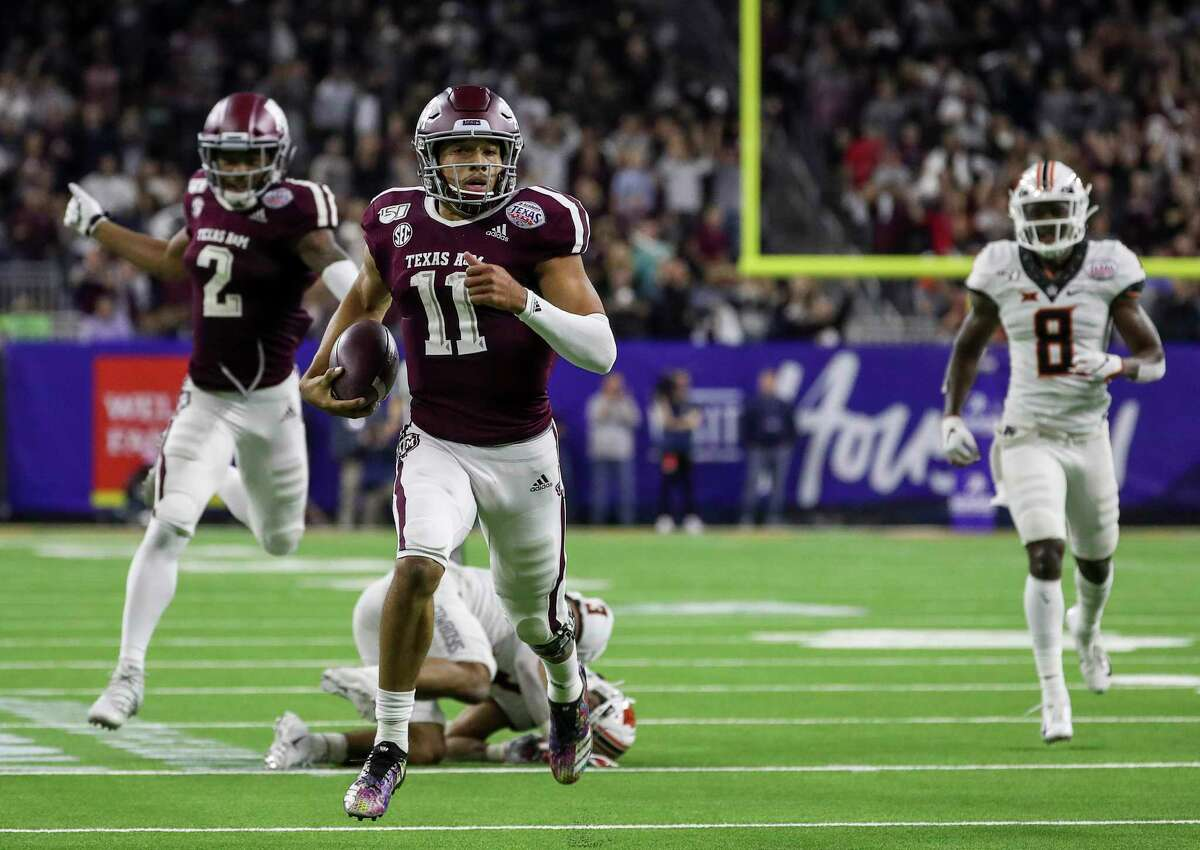 Quarterback Kellen Mond makes his way to a 67-yard touchdown run in Texas A&M's 24-21 comeback victory over Oklahoma State in last season's Texas Bowl at NRG Stadium.