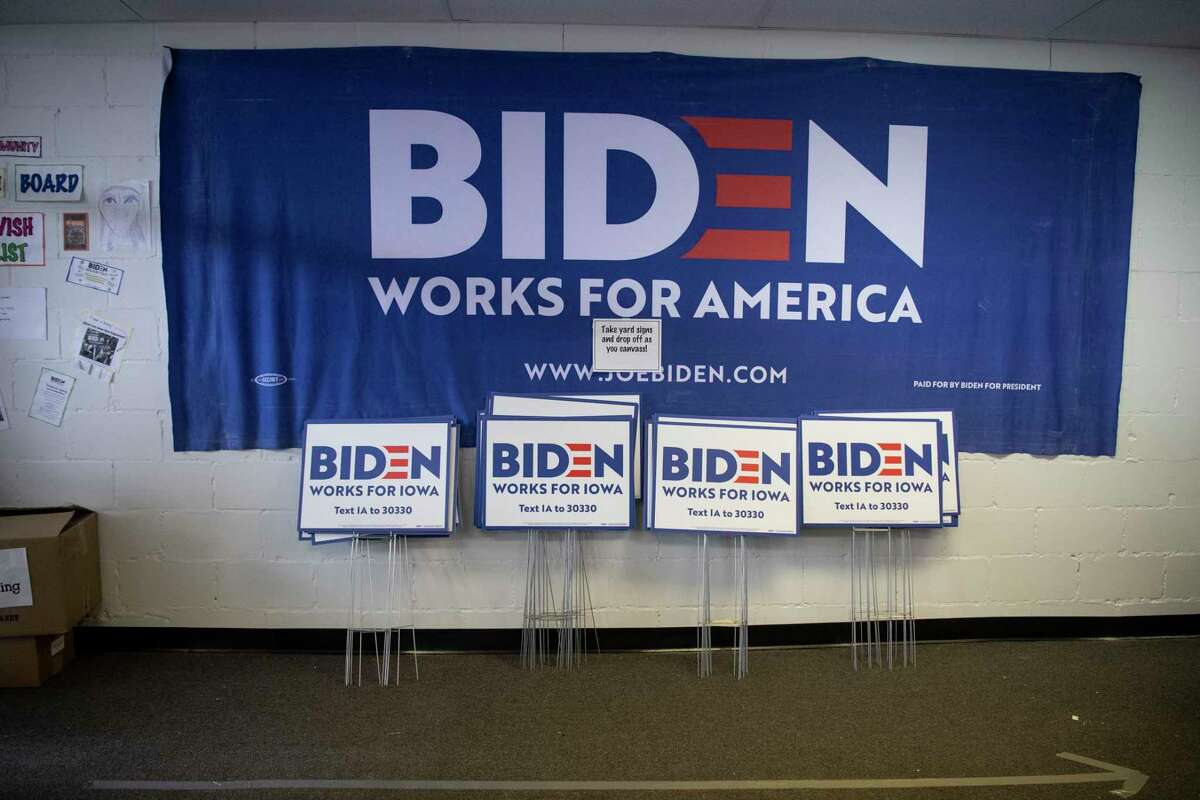 A campaign field office for former vice president Joe Biden in Des Moines ahead of the Iowa caucuses on Feb. 3.