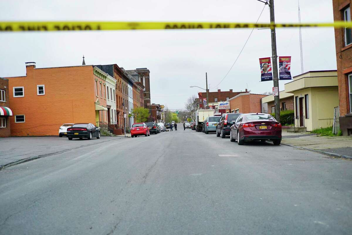 A view looking down 3rd St. towards Jefferson St., where Troy Police were investigating a shooting on Sunday morning, April 26, 2020, in Troy, N.Y. (Paul Buckowski/Times Union)