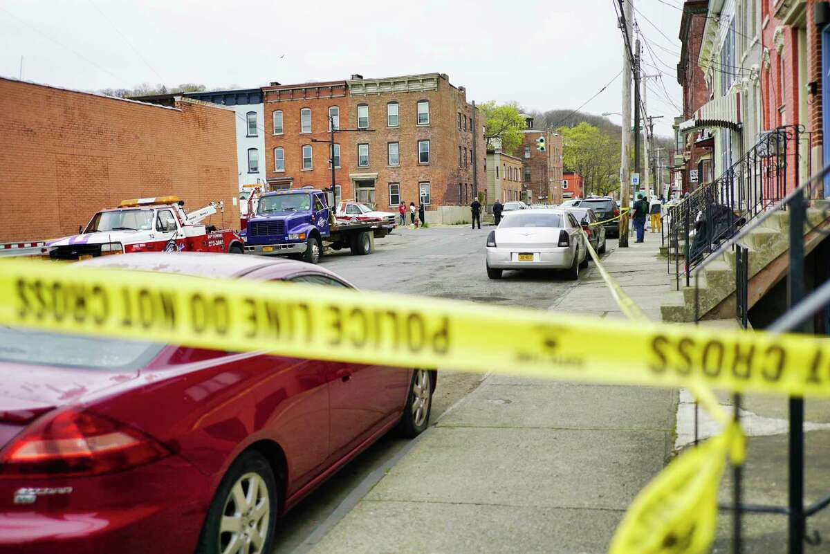 A view looking towards the corner of 3rd St. and Jefferson St., where Troy Police were investigating a shooting on Sunday morning, April 26, 2020, in Troy, N.Y. (Paul Buckowski/Times Union)
