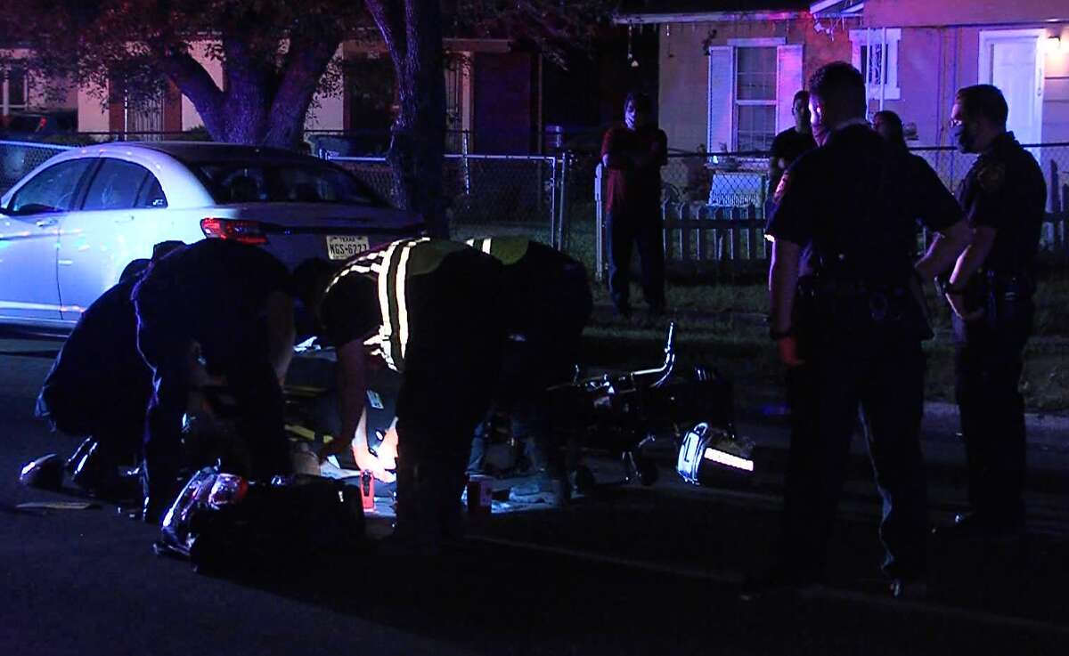 San Antonio police investigate after a man was hit by a vehicle on the South Side Sunday morning, April 26, 2020.