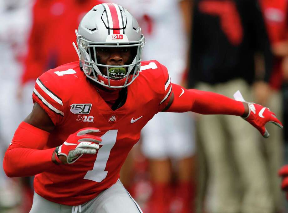 This is an Aug. 31, 2019, file photo showing Ohio State defensive back Jeff Okudah playing against Florida Atlantic in an NCAA college football game in Columbus, Ohio. Okudah was drafted by the Detroit Lions on Thursday. (AP Photo/Jay LaPrete, File) / Copyright 2019 The Associated Press. All rights reserved