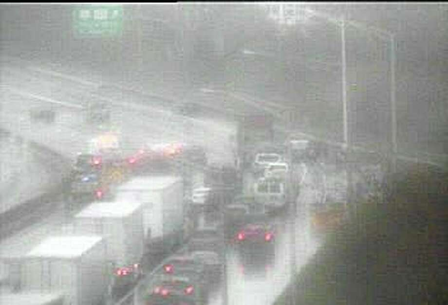 A multi-vehicle accident has closed two northbound lanes of I-95 in Stratford Sunday afternoon on April 26, 2020 Photo: DOT Traffic Cam