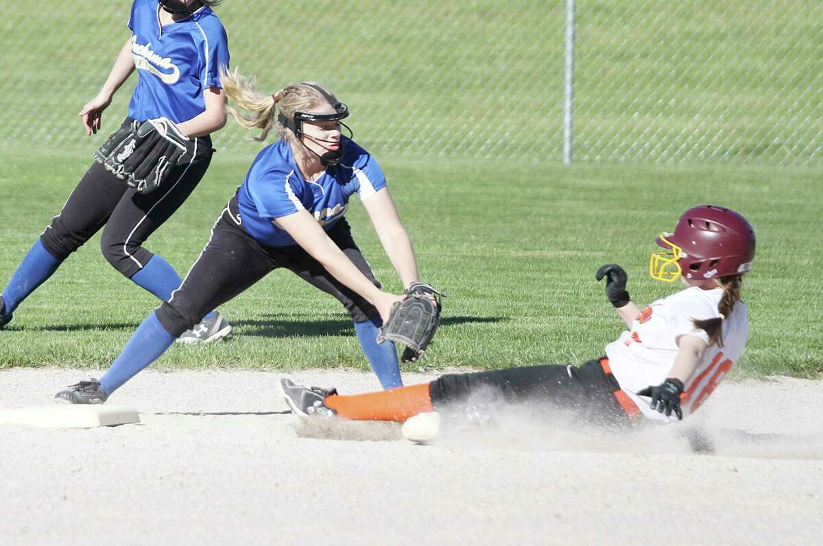 Onekama's Hanna Hughes looks to make a tag at second during a game last season. The Portagers were looking forward to defending their Division 4 district title this season before the MHSAA canceled spring sports due to concernsover the spread of the coronavirus. (News Advocate file photo)