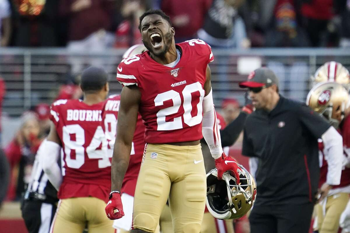 San Francisco 49ers free safety Jimmie Ward celebrates during the second half of a January 2020 playoff game against the Minnesota Vikings.
