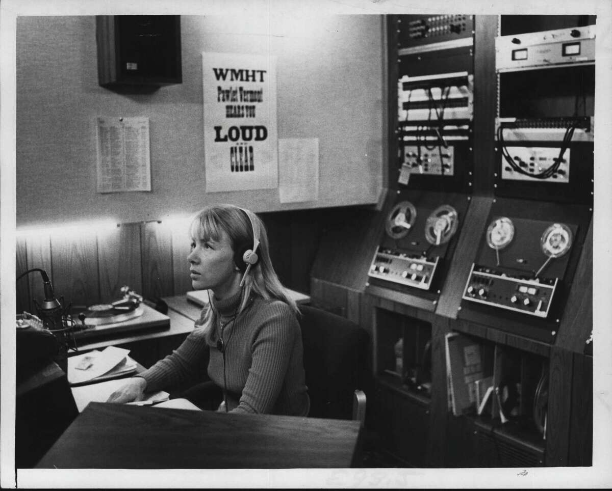 Kjersti Board in WMHT-FM radio studio, New York. November 05, 1972 (Paul D. Kniskern, Sr./Times Union Archive)