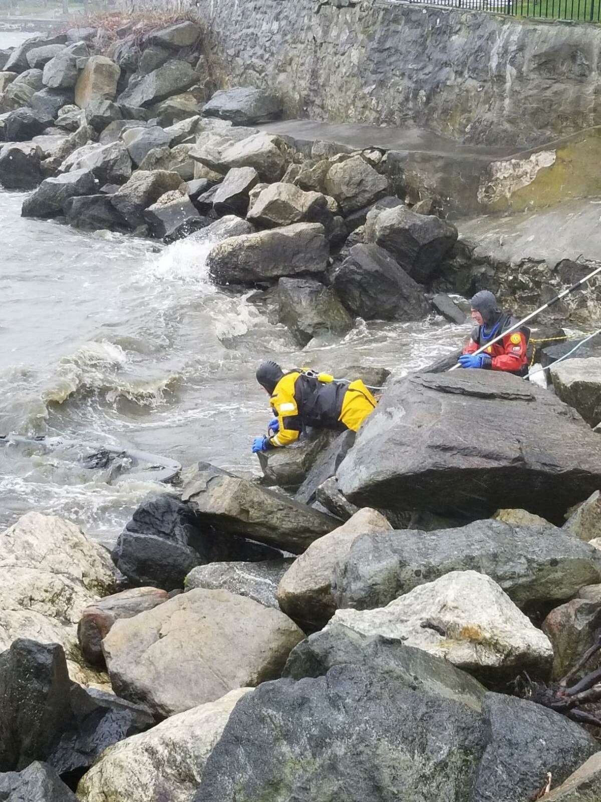 Stamford firefighters during a search and rescue on Sunday, April 26.