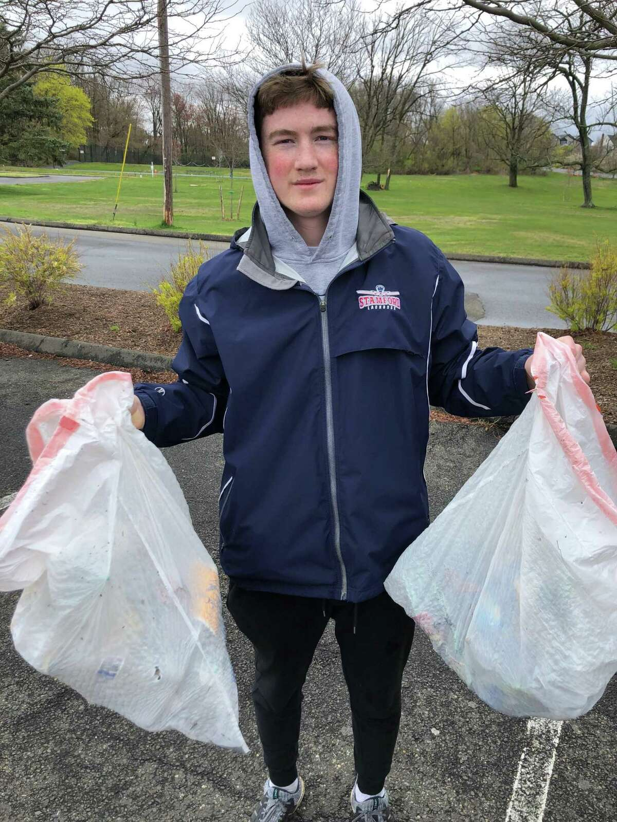 Jack Engel, a Westhill High School junior, picked up trash around his neighborhood on Earth Day. Engel created his own climate organization, called Clean2BGreen. For Earth Day, he inspired hundreds of his friends and family members around the U.S. to pick up trash in their respective neighborhoods.