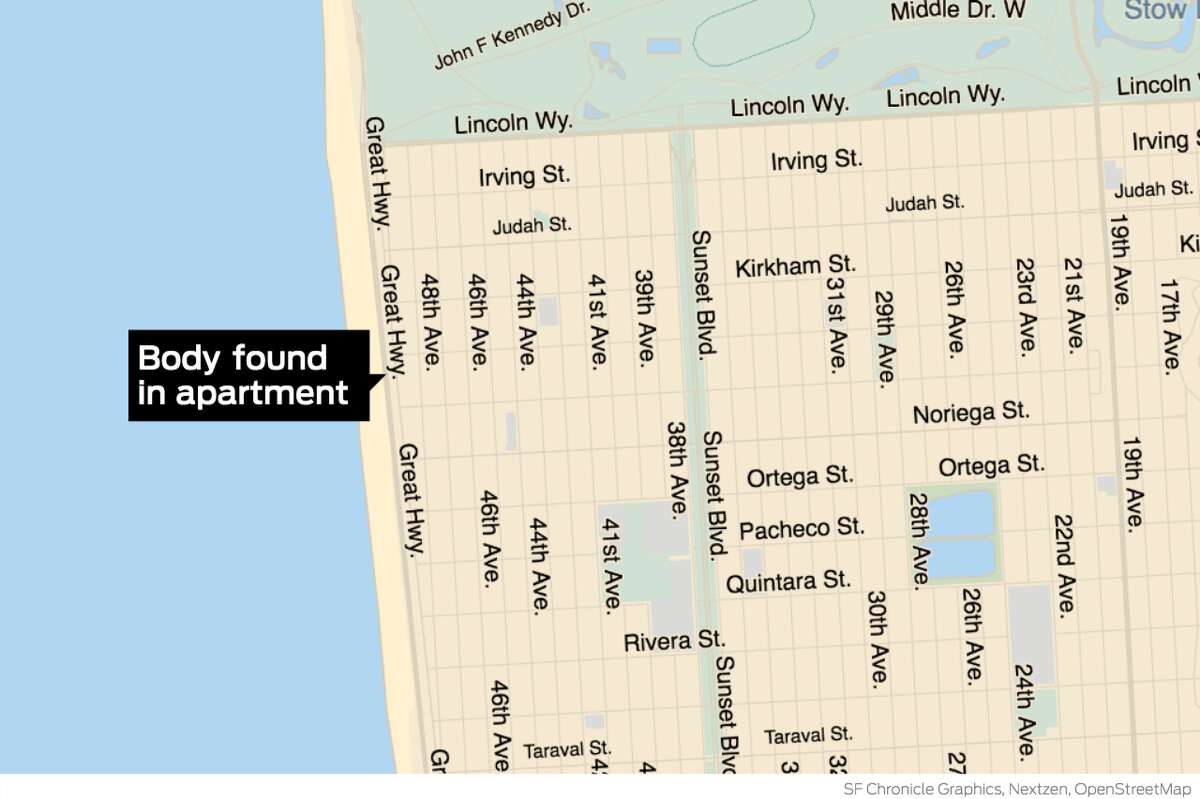 Investigators from the San Francisco Police homicide unit and the Medical Examiner's Office were called to an apartment on the 1600 block of the Great Highway after the body of an adult male was found inside, according to San Francisco Police Sgt. Michael Andraychak.