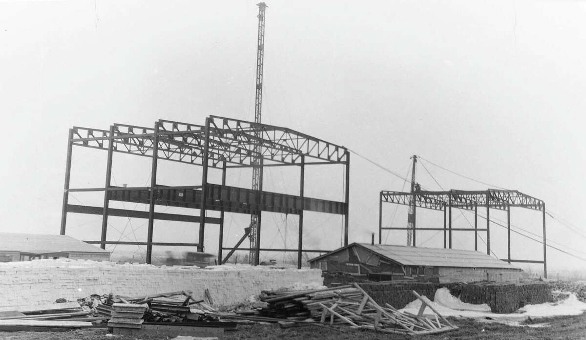 This photo shows the beginning of construction on what became the Manistee High School building that is located behind the current Kennedy Elementary School. The photo is from 1926.