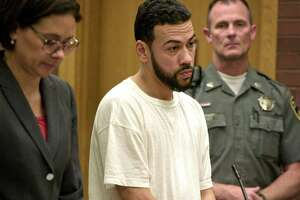David Ramos, of Danbury, appeared in Danbury Superior Court alongside his attorney Jennifer Tunnard on Tuesday. Ramos was arrested Sept. 11, and is facing first-degree manslaughter, possession of a controlled substance, possession with intent to sell, use of drug paraphernalia, failure to keep narcotics in original containers and interfering with police charges. October 20, 2019, in Danbury, Conn.
