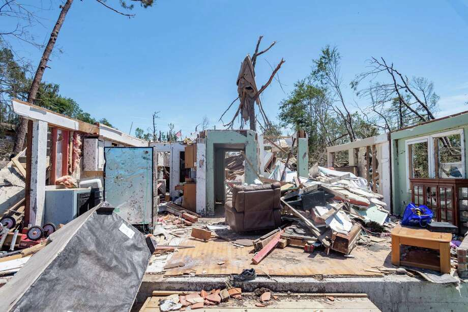 The remnants of the tornado-ravaged home of George and Kim White in Livingston, Texas. The area was hit by a tornado on Wednesday night.  Photo made on April 26, 2020. Fran Ruchalski/The Enterprise Photo: Fran Ruchalski, The Enterprise / The Enterprise / © 2020 The Beaumont Enterprise