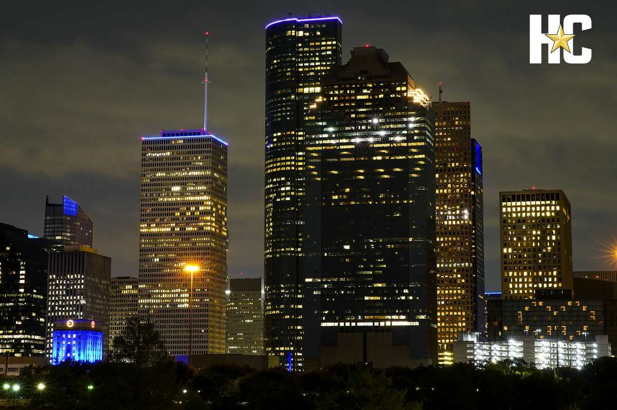 Some buildings in Houston's skyline were lit blue on April 9 as part of a nationwide #LightItBlue movement to honor essential workers on the front lines of the coronavirus pandemic.