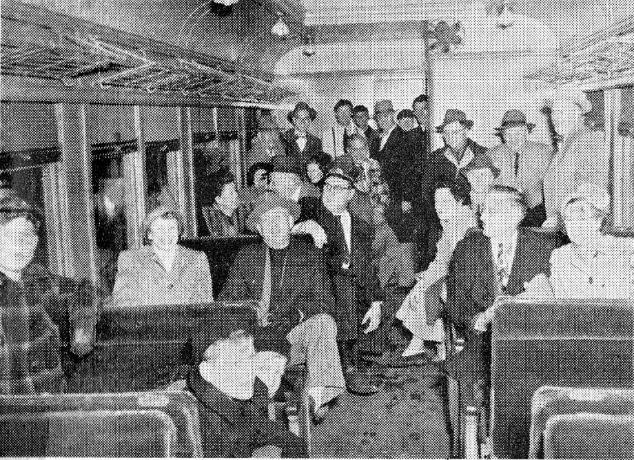 A photo published on December 2, 1949 in the Manistee News Advocate shows some of the passengers on the last train passenger train of the Manistee & Northeastern Railroad. The last run from Manistee to Kaleva took place on November 30, 1949.