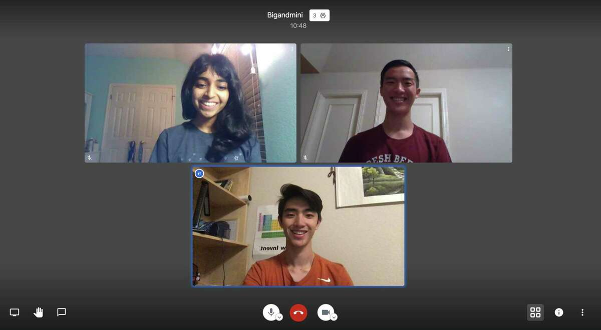The founders of Big and Mini, a website that matches older and younger people for conversation. From clockwise from top left,Aditi Merchant, Anthony Zhou and Allen Zhou.