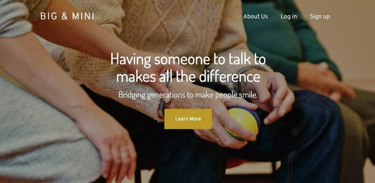 Screenshot of the Big & Mini home page, which matches seniors and younger people for video conferencing meetings.