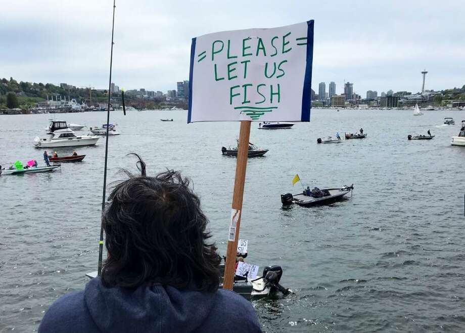 Rally participants said fishing is an activity that can easily be done with plenty of social distancing. Photo: Courtesy Of KOMO News