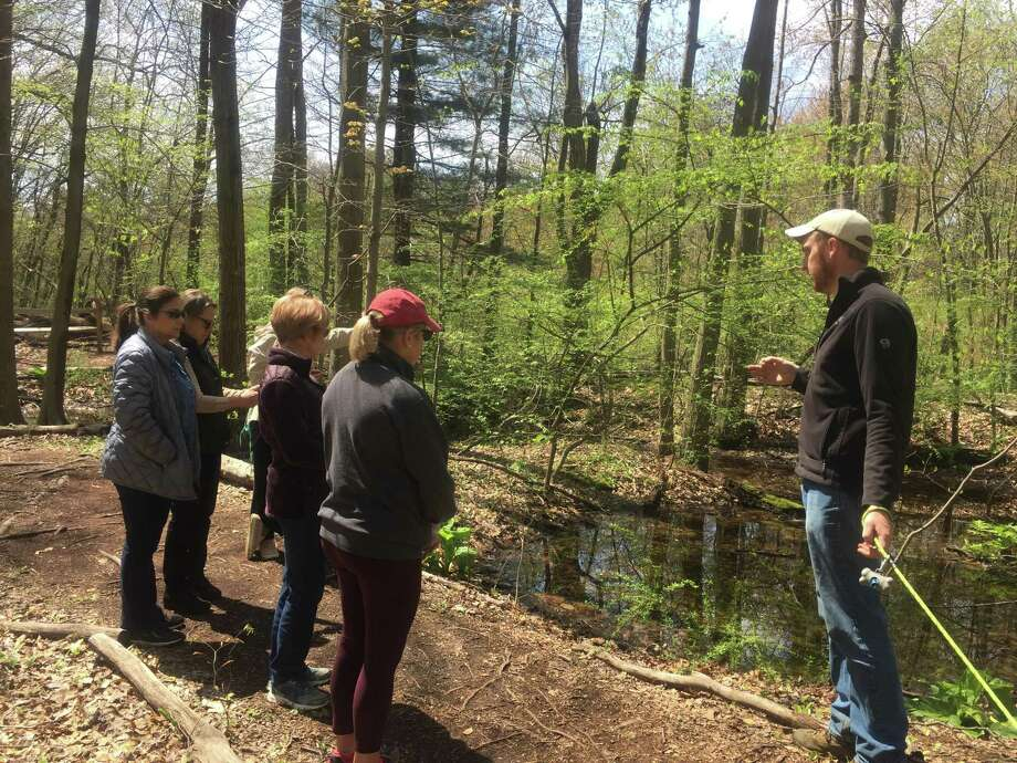 New Canaan Land Trust Executive Director Aaron Lefland guides The Congregational Church of New Canaan Women's Fellowship Group on a tour of the New Canaan Land Trust GreenLink Trail in a past spring. After recently closing temporarily due to the coronavirus pandemic, the Land Trust has reopened its trails as of Monday, April 27, 2020. Photo: Stephanie Radman / Contributed Photo / Connecticut Post