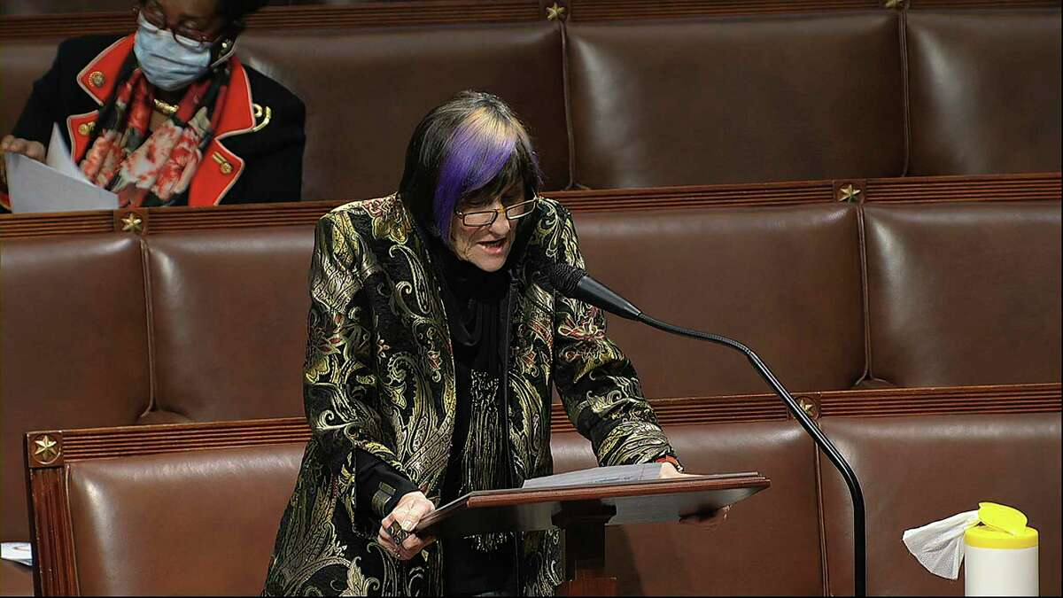 In this image from video, Rep. Rosa DeLauro, D-Conn., speaks on the floor of the House of Representatives at the U.S. Capitol in Washington, Thursday, April 23, 2020. (House Television via AP)