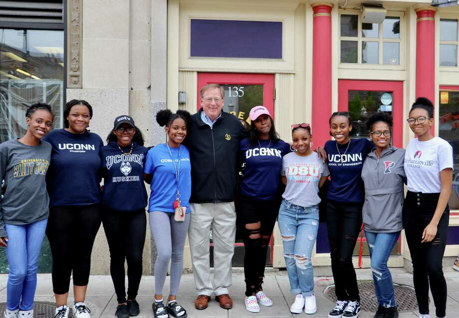 New Canaan resident and Future 5 founder Clif McFeely with students pre-COVID-19. Photo: Contributed Photo