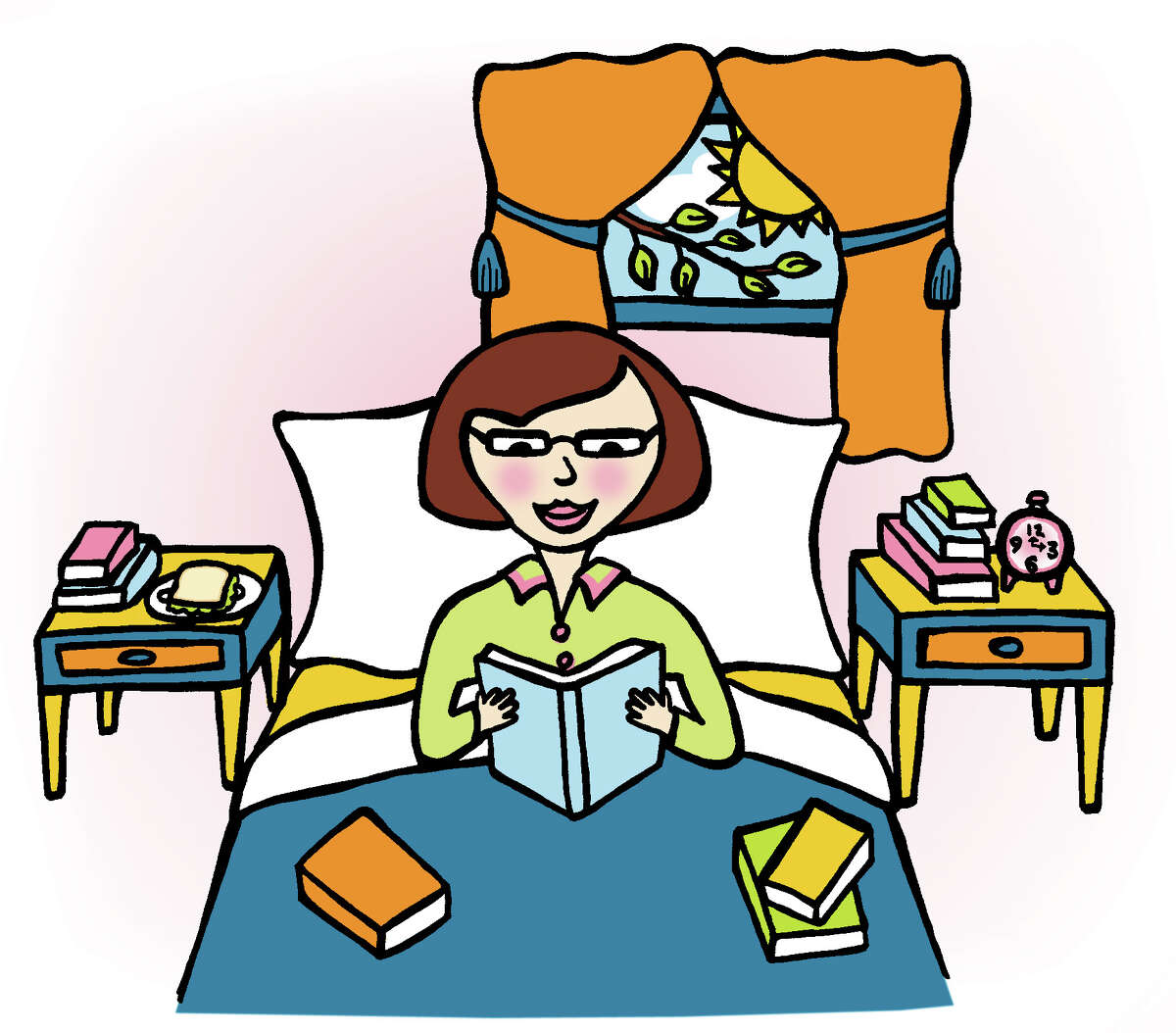 Times Union illustration by Maria M. Stoodley -- For Donna Liquori Biblio files column on reading books in bed all day. For 01/21/07 Sunday Travel Books cover.