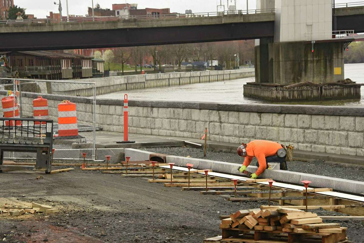 Construction continues on the Troy waterfront seawall along the Hudson River on Monday, April 27, 2020 in Troy, N.Y. (Lori Van Buren/Times Union)