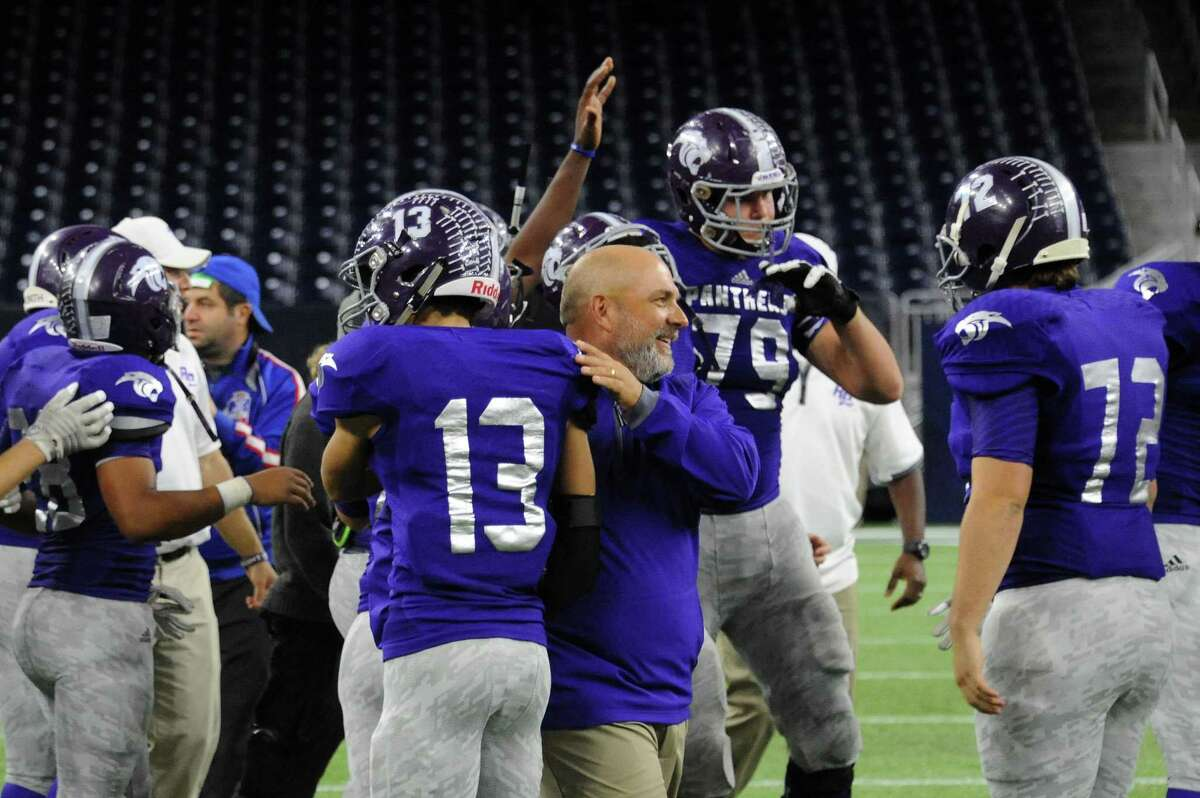 Ridge Point celebrates its regional semifinal victory against A&M Consolidated, Nov. 28 at NRG Stadium in Houston. Senior offensive tackle Travis Bruffy (79) was voted first-team all-state by the Texas Sports Writers Association following the season.