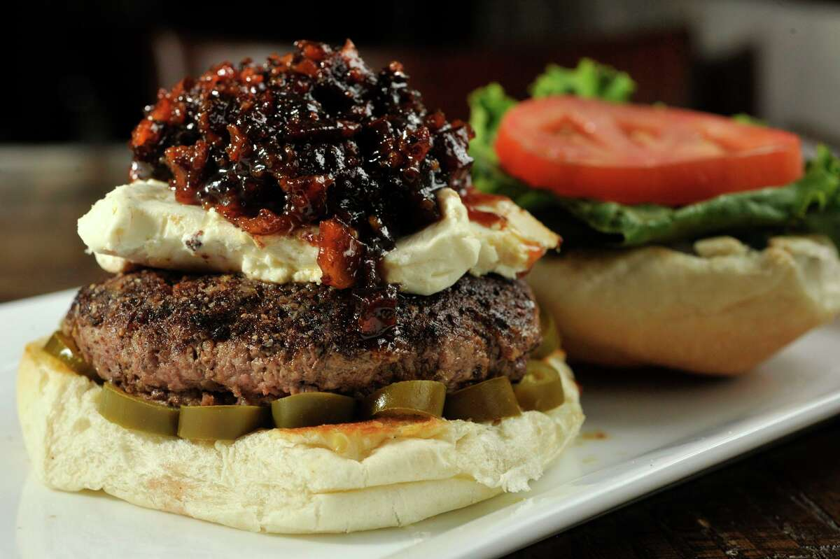 Customers who place orders of $15 or more at restaurants in Wilton can win gift certificates. Photo: Burger at Little Pub in Wilton.