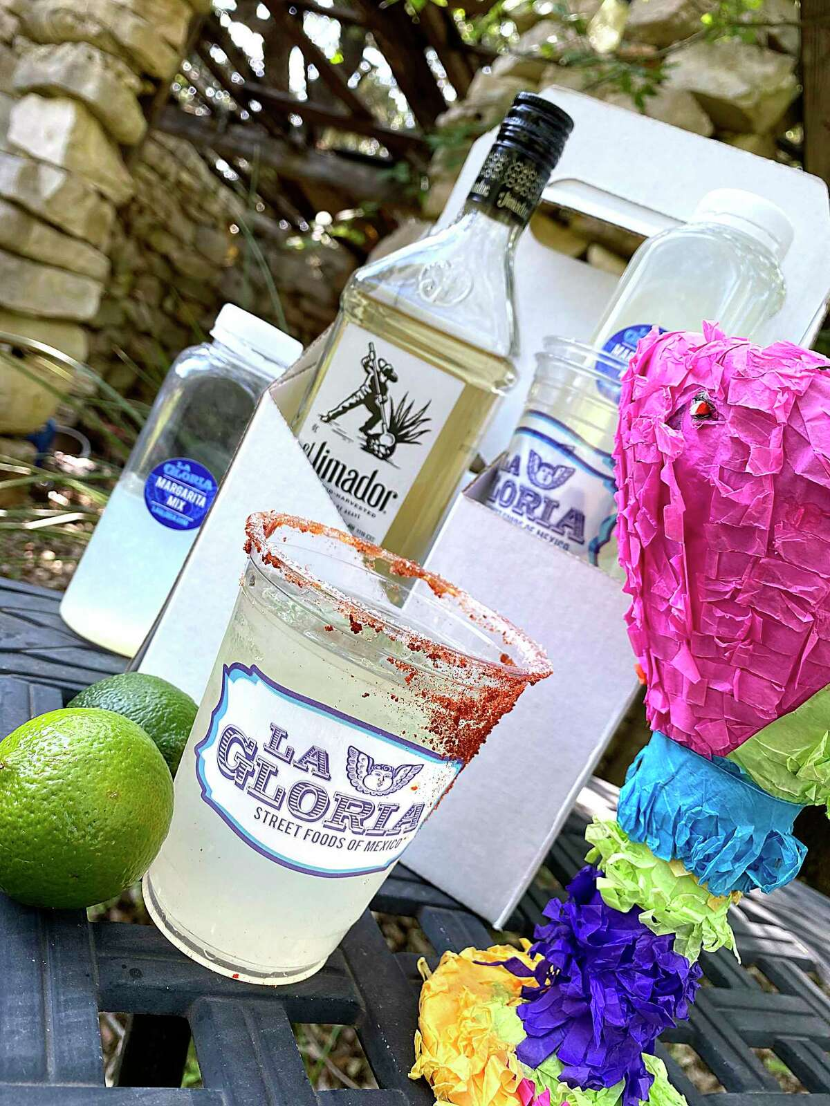 La Gloria at the Pearl makes it easier to celebrate Cinco de Mayo at home during the coronavirus crisis with to-go margaritas and Mexican food, including this margarita kit with margarita mix, cups, salt and a half-size bottle of El Jimador tequila.