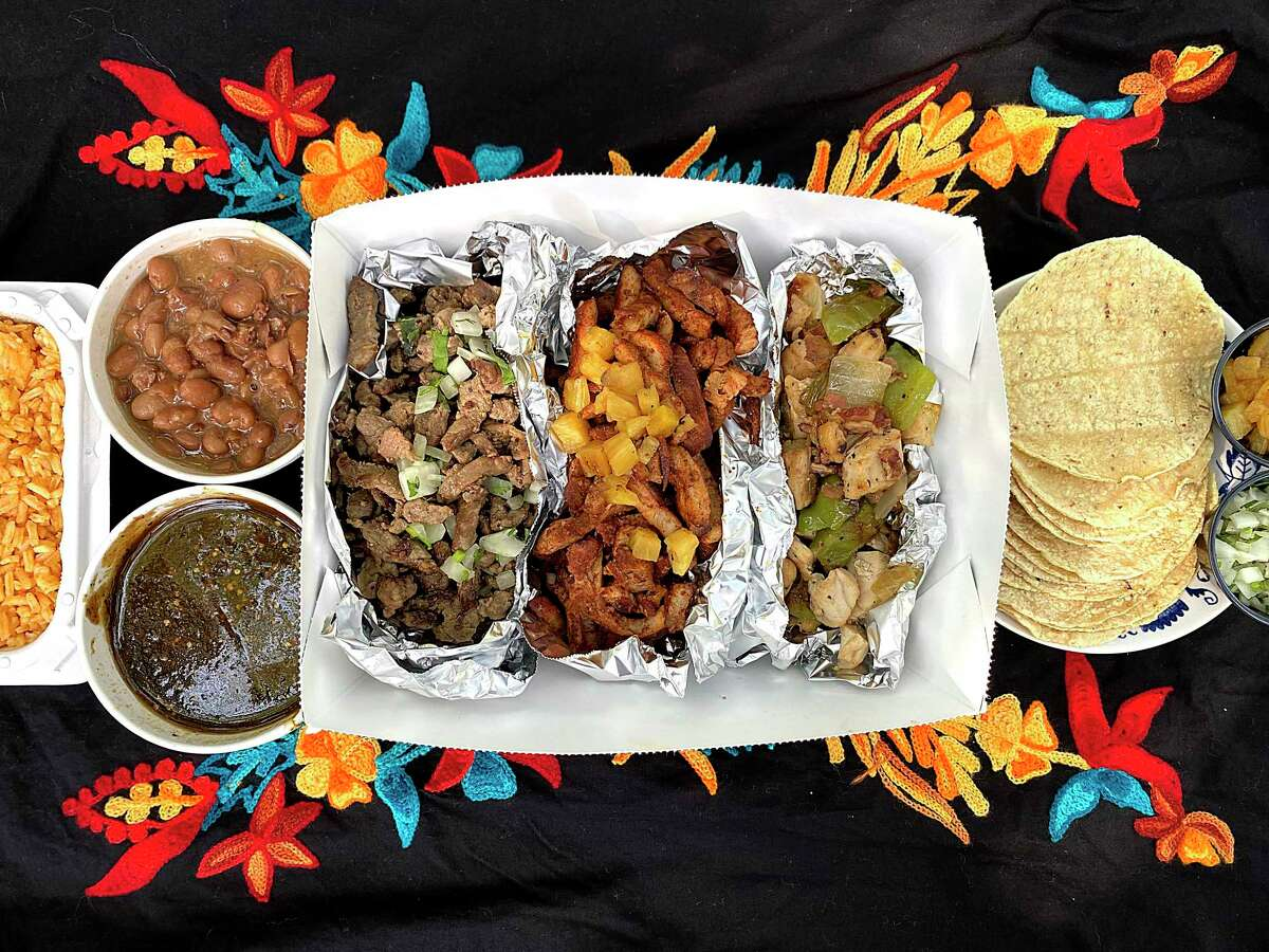 La Gloria at the Pearl makes it easier to celebrate Cinco de Mayo at home during the coronavirus crisis with to-go margaritas and Mexican food, especially this taco kit with Mexican rice, charro beans, roasted red salsa, carne asada, pork al pastor, chicken alambre and corn tortillas.