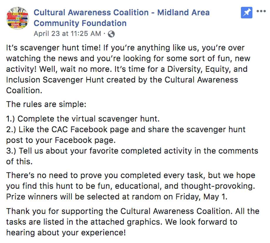 An online scavenger hunt was kicked off Thursday, April 23 by the Cultural Awareness Coalition, an initiative of the Midland Area Community Foundation. (Photo provided) Photo: (Photo Provided)