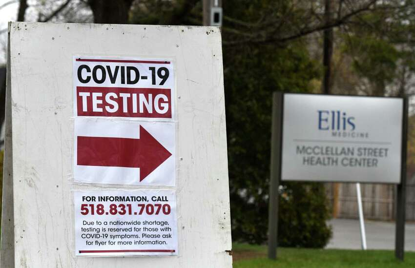 A sign points to the new Ellis McClellan Street campus COVID-19 testing site on Monday, April 27, 2020, in Schenectady, N.Y. Schenectady opened its first mobile testing sites this week. (Will Waldron/Times Union)