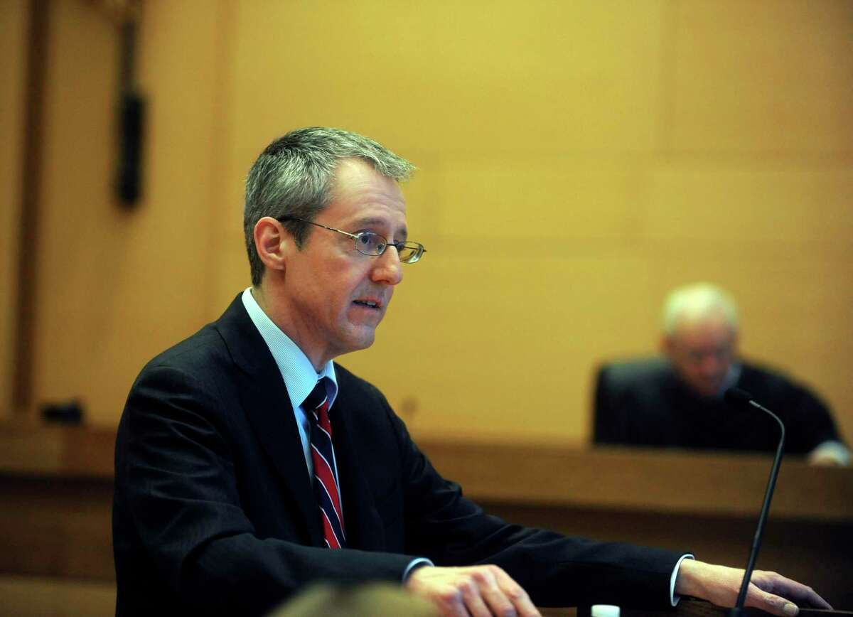 Senior Assistant State's Attorney Paul Ferencek gives his closing argument in the trial of Carlos Trujillo, who is accused in the slaying of Andrew Kissel, at state Superior Court in Stamford, on Monday, Dec. 13, 2010.