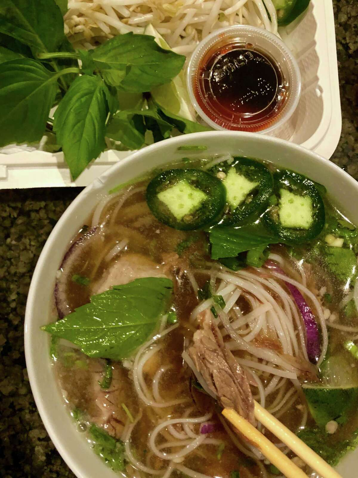 Takeout pho from Quang's Vietnamese Bistro in Troy.