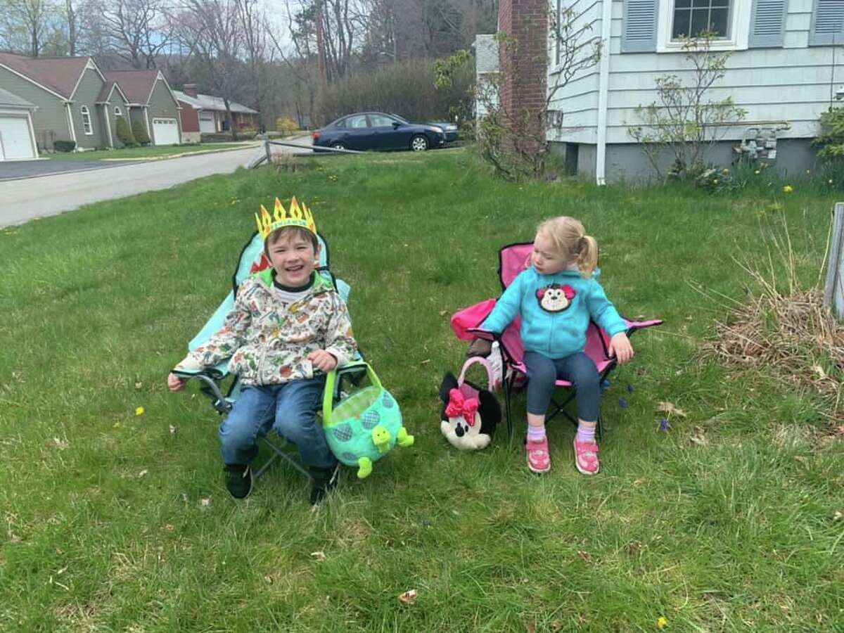 A birthday parade was held for Ben and Leah, two local children who turned 6 this week.
