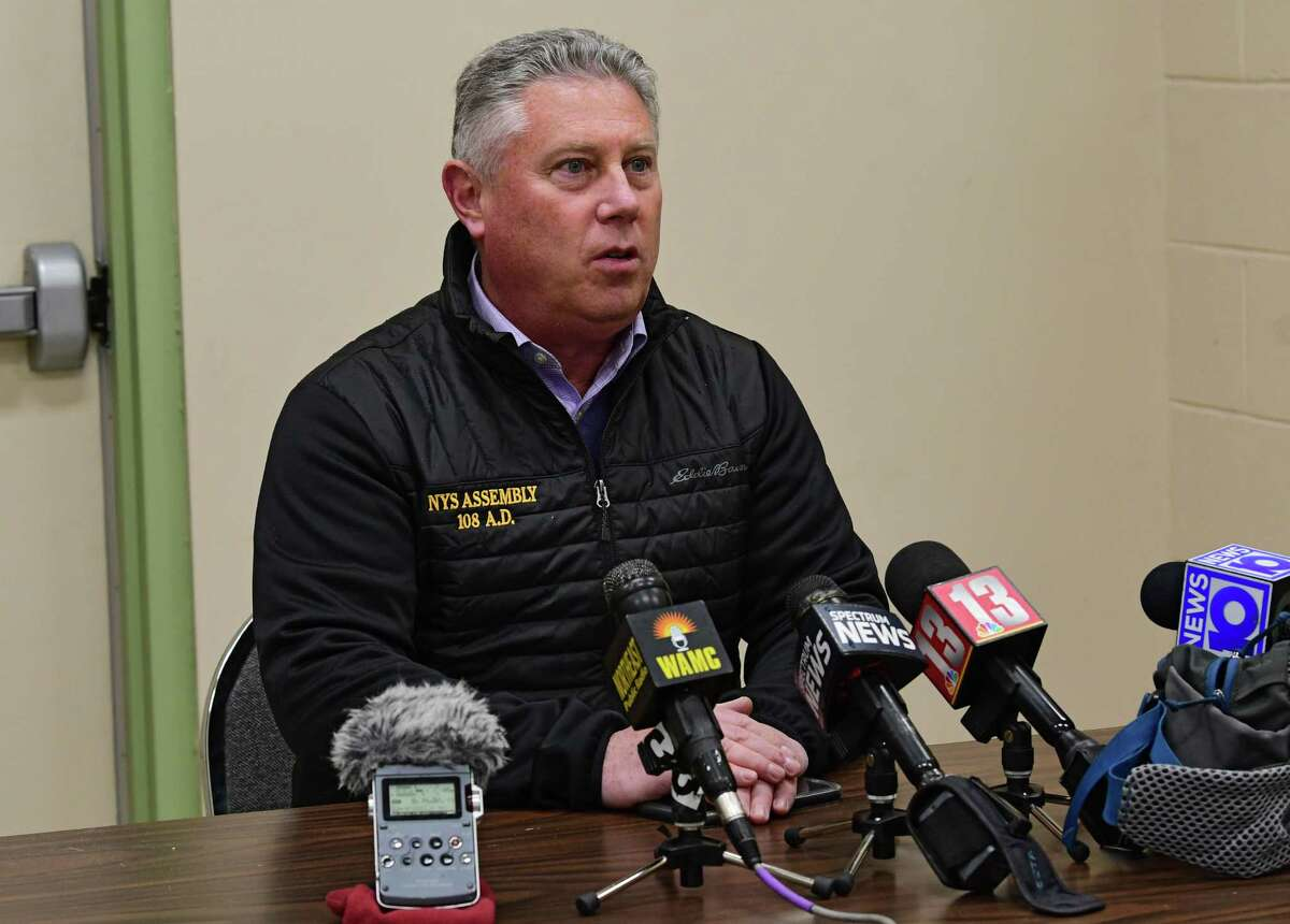 Assemblymember John McDonald speaks during a press conference at the Saratoga Sites community room regarding the results of the Bennington College study on PFAS levels around the Norlite incinerator on Monday, April 27, 2020 in Cohoes, N.Y. (Lori Van Buren/Times Union)