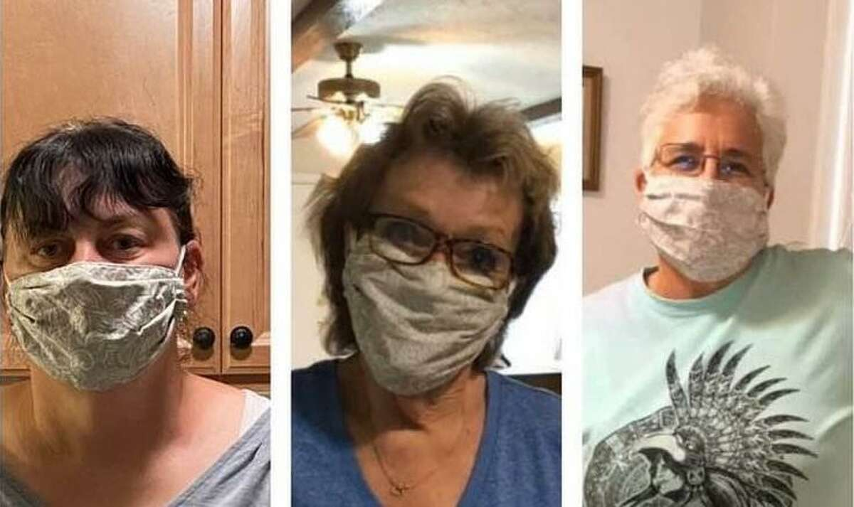 Annette Davis, left, Bobbie Barbara and Peggy Dow have busied themselves making and delivering face masks that they donate to entities in the region and even in Louisiana.