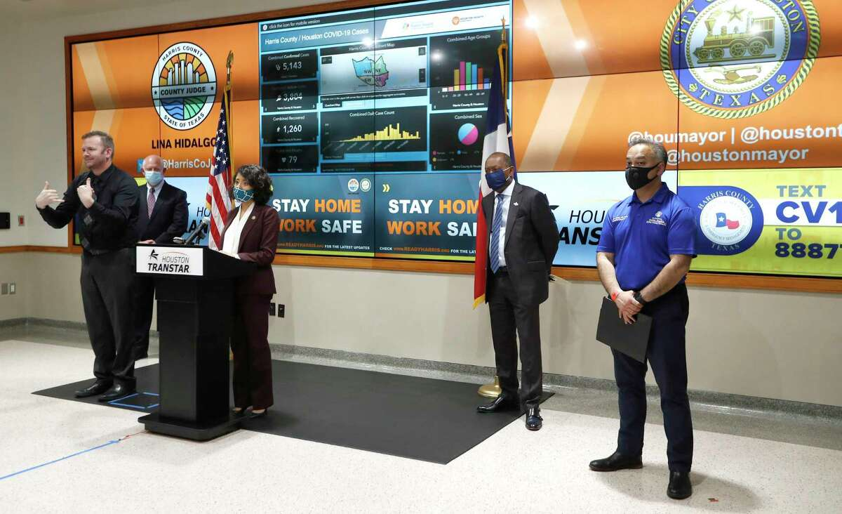 Harris County Judge Lina Hidalgo speaks at a news conference with Houston Mayor Sylvester Turner to provide COVID-19 announcements and updates, including the new rules requiring everyone to wear masks while outside, in Houston, Wednesday, April 22, 2020.